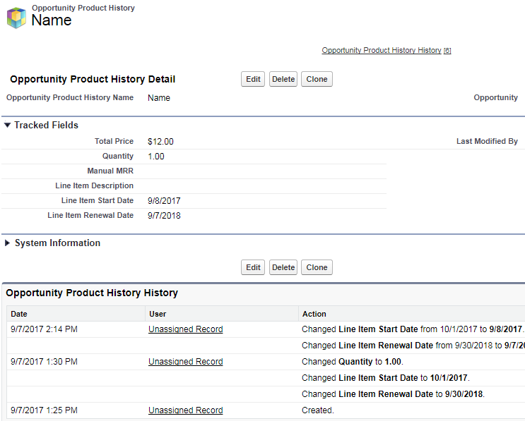 Salesforce.com Opportunity Product History