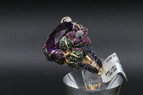 Diamond Ring with Ruby & Green Garnet
