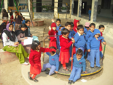Kindergarten students relax at Lawrence Homan Public School, Inter College, Lucknow