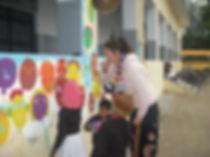 English artists work at the school, isnpiring the students to create wonderful work in Bakshi ka Talab