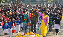 Teachers visiting from England UK take part in Republic Day at Lawrence Homan Public Girls Inter College