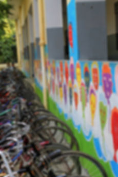 Bicycles and student artwork in Lawrence Homan Public School | Bakshi ka Talab