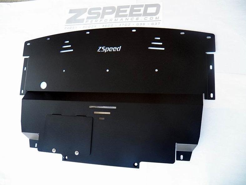 ZSpeed 370Z V2 Aluminum Engine Splash Shield Black Powdercoat