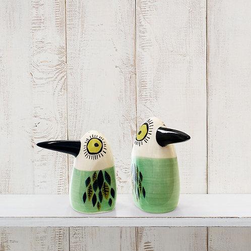 Green Bird Salt and Pepper Shakers