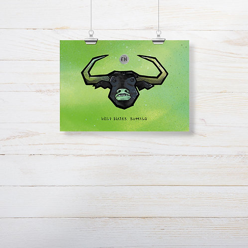 Kieran Page 'Wild Water Buffalo' A5 Print