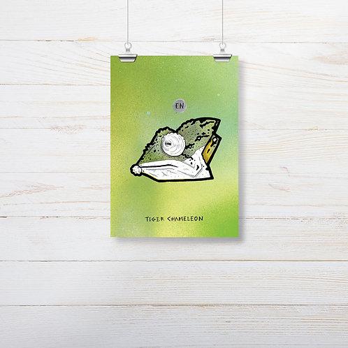 Kieran Page 'Tiger Chameleon' A5 Print