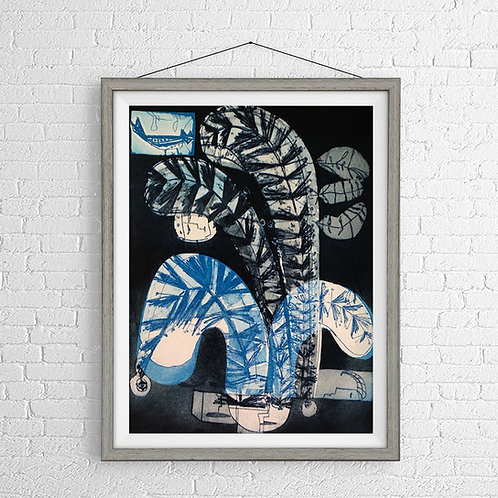 John Guest 'Man with Plumage' Framed Etching