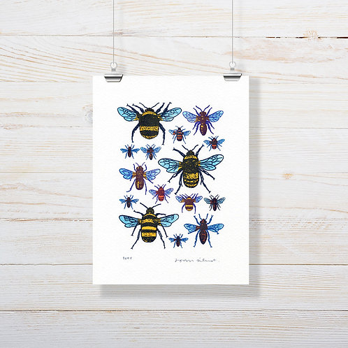 John Dilnot Bees - Mini Screen Print