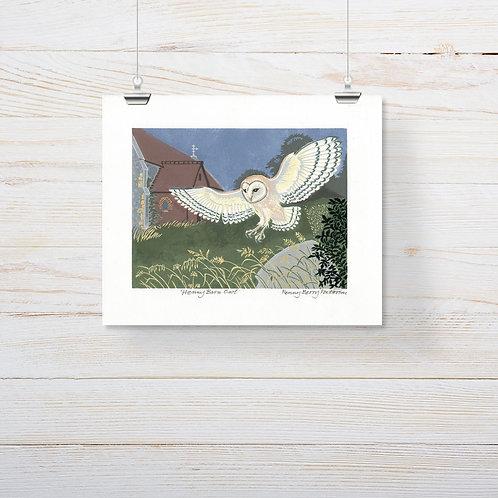 Penny Barn Owl - Lino-Cut Print