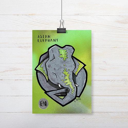 Kieran Page 'Asian Elephant' A5 Original Artwork