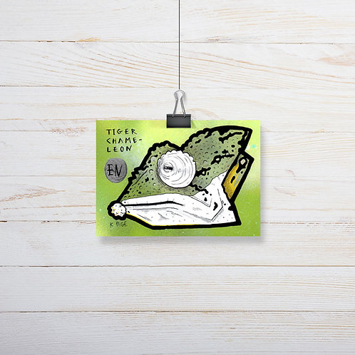 Kieran Page 'Tiger Chameleon' A6 Original Artwork