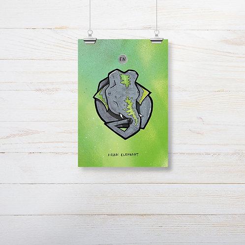 Kieran Page 'Asian Elephant' A5 Print