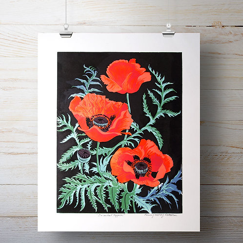 Oriental Poppies - Lino-Cut Print