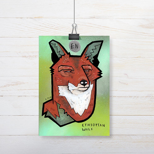 Kieran Page 'Ethiopian Wolf' A5 Original Artwork