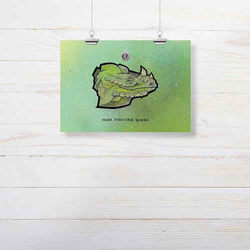 Kieran Page 'Mona Rhinoceros Iguana' A5 Print
