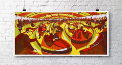 Paul-Cleden-Counting-Collisions-Linocut.