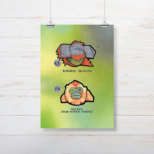 Kieran Page 'Orangutan X Snub-Nose Monkey' A4 Print