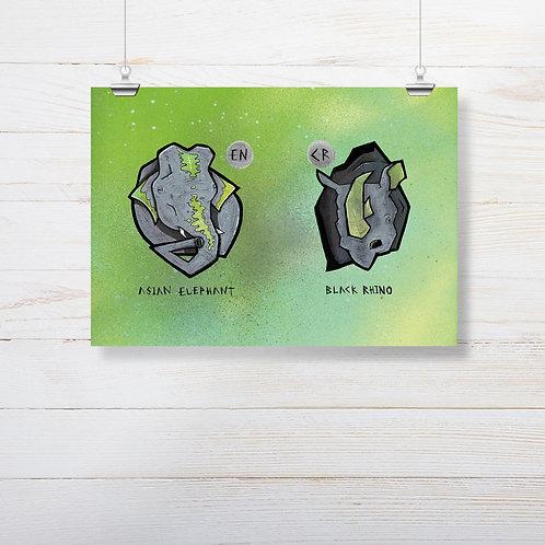 Kieran Page 'Elephant X Rhino' A4 Print