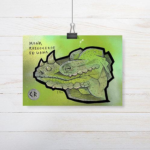 Kieran Page 'Mona Rhinoceros Iguana' A5 Original Artwork