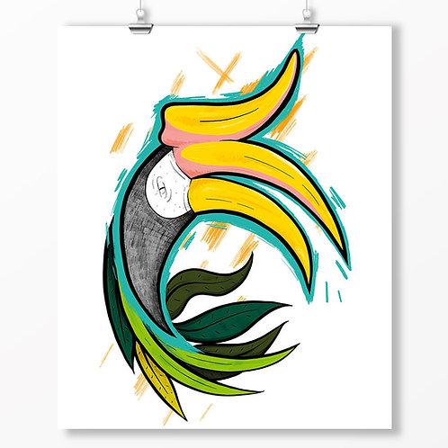 Kieran Page Rhinoceros Hornbill A1 Print