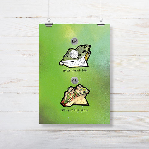 Kieran Page 'Chameleon X Spiny Frog' A4 Print