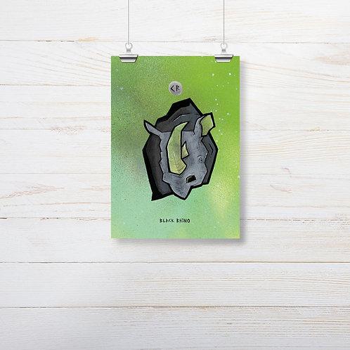 Kieran Page 'Black Rhino' A5 Print