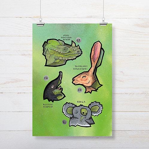 Kieran Page 'Iguana' A3 Print