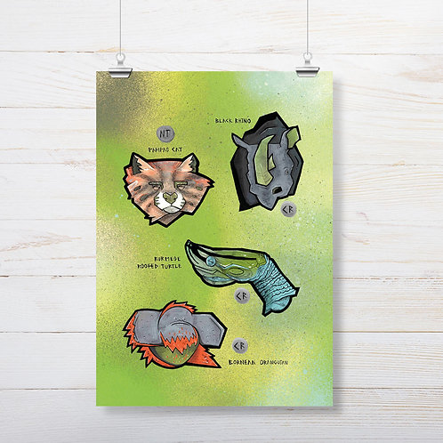 Kieran Page 'Rhino' A3 Print