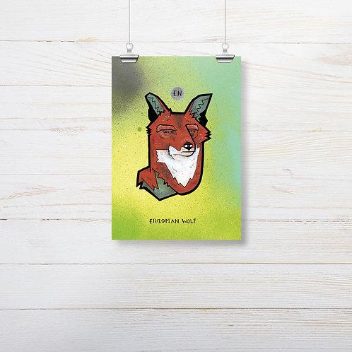 Kieran Page 'Ethiopian Wolf' A5 Print