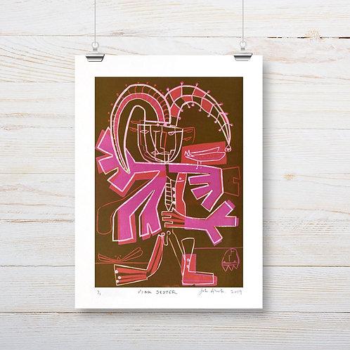 John Guest 'Pink Jester' Linocut Print