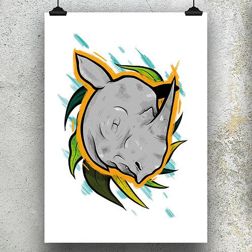 Kieran Page Sumatran Rhino A3 Print