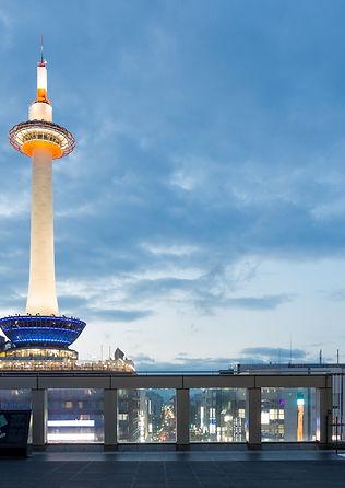 Dusk Lighted Kyoto Tower Blue Hour Eveni