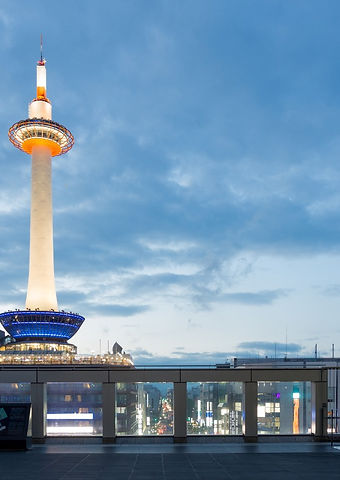 Dusk Lighted Kyoto Tower Blue Hour Eveni