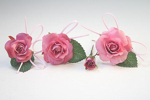 小ぶりのモーブバラのパーツ髪飾り(4パーツ)