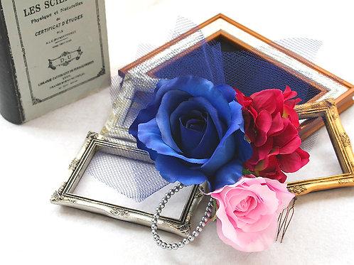 ヘッドドレス(髪飾り)バラとブルーのチュール
