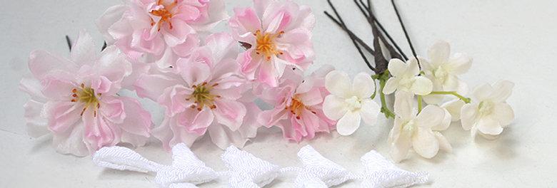 桜(八重桜)のパーツ(10パーツ)の髪飾り(下がりホワイト)