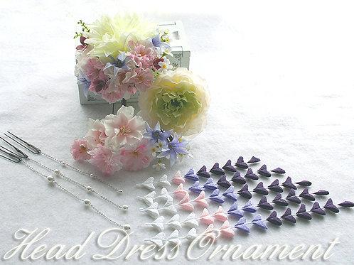 ヘッドドレス(髪飾り)ダリアと桜・和と洋のセット