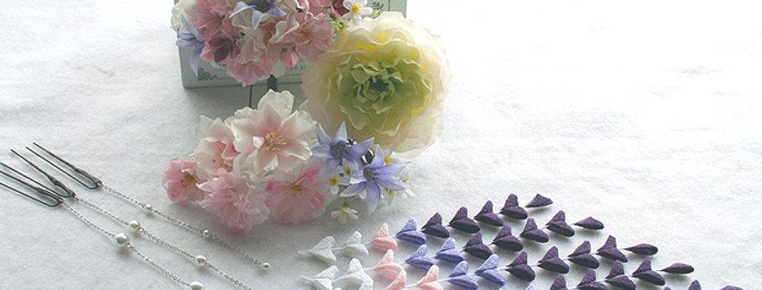 HA082:ヘッドドレス(髪飾り)ダリアと桜・和と洋のセット