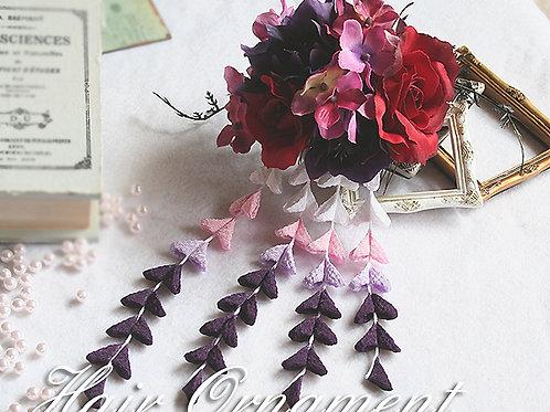 HA057:バラとクリスマスローズの髪飾り(コーム)
