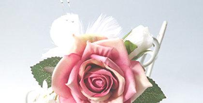 ピンクバラとパールのかわいい髪飾り