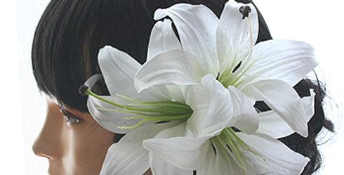 HA025:カサブランカの髪飾り(三輪構成)