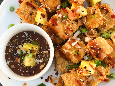Coconut Crusted Tofu Nuggets with Healthy Sweet & Sour Sauce (Gluten-Free)
