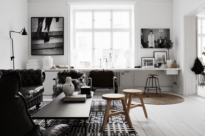 Habitación en blanco y negro: la combinación de color perfecta.