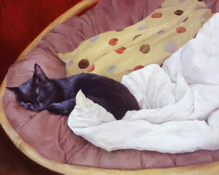 Black cat, round chair