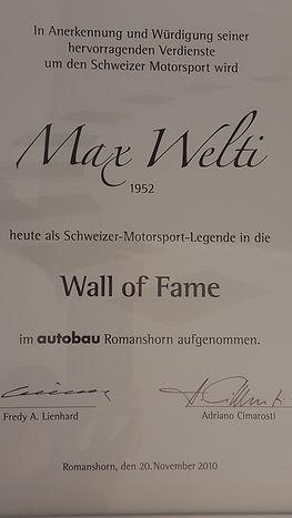 Max Welti Wall autobau of Fame Auszeichung für hevorragende Verdienst um den Schweizer Motorsport