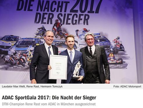 Max Welti als Laudator für den ADAC Motorsportler des Jahres René Rast anlässlich der ADAC SportGala 2017