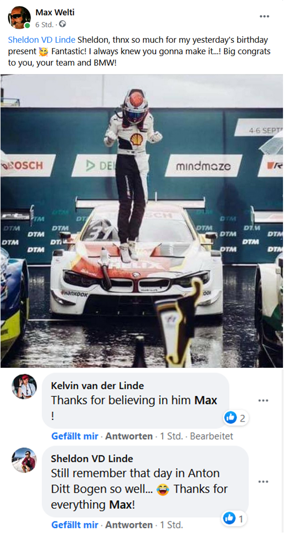 Sheldon VD Linde wins his first DTM race in Assen 5th September 2020