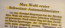 1980 wird Max Welti erster Schweizer Automobilmeister am Gurnigel mit dem March BMW Sportwagen