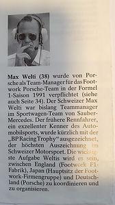 Max Welti wird 1991 als Motorsport Direktor von Porsche verpflichtet