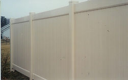 PVC Tan Privacy Fence by Wayne's Fencing